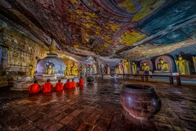 Praying At Cave Temple, Bandara  Pandula , Sri Lanka